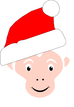 image drawing of white faced capuchin monkey wearing christmas toque style hat