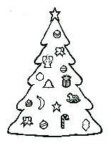 coloring book page christmas tree