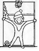 coloring book page with Bocebus the monkey standing in doorway under mistletoe