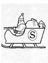 coloring book page Santa in sleigh with packages and monkey as passenger